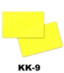 Solid gele dubbelzijdig gekleurde kunststof PVC kaart in creditkaart formaat. dikte 0.76 mm