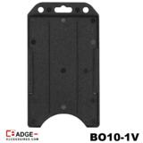 Verticale semi-harde kunststof kaarthouder met open voorzijde zodat uw identiteit- of bedrijfskaart goed zichtbaar is. zwart
