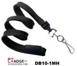 10 mm breed lanyard voorzien van veiligheidssluiting en metalen draaihaak zwart