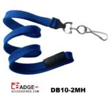 10 mm breed lanyard voorzien van veiligheidssluiting en metalen draaihaak koningsblauw