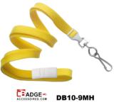 10 mm breed lanyard voorzien van veiligheidssluiting en metalen draaihaak geel