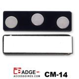 Magneet kaart bevestiging bestaand uit 3 magneetjes in kunststof plaatje en plakstrip op een zink plaatje