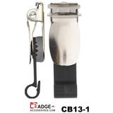 Badgeclip Excellent met metalen bretelclip en een hard ABS kunststof bevestiging voor badgehouder of kaart met clipgleuf