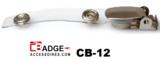 Badgeclip open met metalen bretel en flexibel helder vinyl bandje met stevige drukknoopsluiting