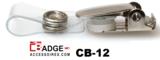 Badgeclip dicht met metalen bretel en flexibel helder vinyl bandje met stevige drukknoopsluiting
