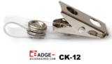 Badgeclip voorzien van krokodillen knijper en 70 mm flexibel helder vinyl bandje