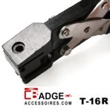 Perforator tang met variabel en precies in te stellen schroefbare aanslag om precies kunststof kaart te perforeren rond clipgat