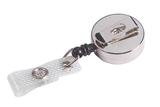 Deze MINI-jojo heeft een metalen behuizing en een NYLON KOORD van circa 80 cm. De badgehouder met trekkoordje is GEHEEL CHROOM