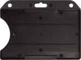 Zwart standaard semi-harde kunststof badgehouder met open voorzijde zodat uw kaart goed zichtbaar is. Kaart wordt horizontaal g