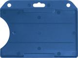 Blauw standaard semi-harde kunststof badgehouder met open voorzijde zodat uw kaart goed zichtbaar is. Kaart wordt horizontaal g