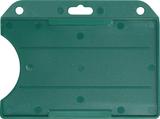 Groen standaard semi-harde kunststof badgehouder met open voorzijde zodat uw kaart goed zichtbaar is. Kaart wordt horizontaal g