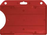 Rood standaard semi-harde kunststof badgehouder met open voorzijde zodat uw kaart goed zichtbaar is. Kaart wordt horizontaal ge