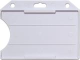 Wit standaard semi-harde kunststof badgehouder met open voorzijde zodat uw kaart goed zichtbaar is. Kaart wordt horizontaal ged
