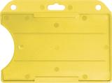 Geel standaard semi-harde kunststof badgehouder met open voorzijde zodat uw kaart goed zichtbaar is. Kaart wordt horizontaal ge