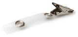 Badgeclip voorzien van krokodillen knijper clipje en een vezel versterkt bandje met stevige druksluiting