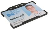 Zeer licht van gewicht semi-harde kunststof Zwarte kaarthouder met open voorzijde zodat uw identiteit- of bedrijfskaart goed zi