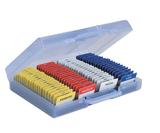 Transparant blauwe kunststof kofferommax.80 badgesvoor beurs, congres of andere evenementen&#x0