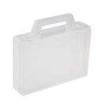 Transparant melkkleurig kunststof kofferommax.80 badgesvoor beurs, congres