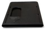 Zwarte harde kunststof kaarthouder ter bescherming van betaalkaart, identiteitskaart of rijbewijs.