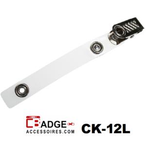 Badgeclip kroko-knijper helder bandje L (89 mm.)