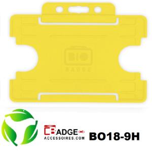 BioBadge Open horizontaal geel