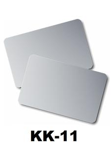 Kunststof kaart 0.76 mm metalliek zilver onbedrukt per 100 stuks.