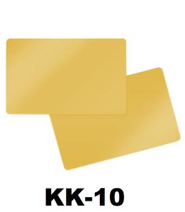 Kunststof kaart 0.76 mm metalliek goud onbedrukt per 100 stuks.