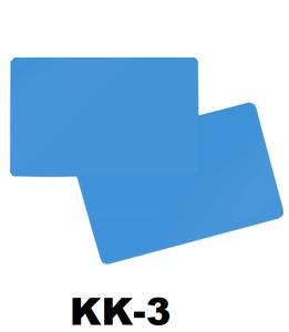 Kunststof kaart 0.76 mm dubbelzijdig licht blauw onbedrukt per 100 stuks.