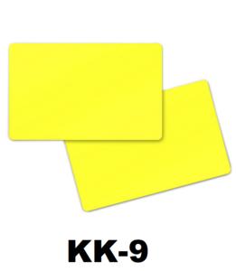 Kunststof kaart 0.76 mm dubbelzijdig geel onbedrukt per 100 stuks
