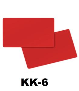 Kunststof kaart 0.76 mm dubbelzijdig rood onbedrukt per 100 stuks.