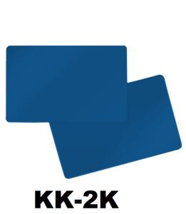 Kunststof kaart 0.76 mm dubbelzijdig midden blauw onbedrukt per 100 stuks.