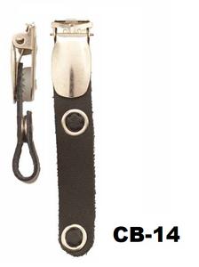 Badgeclip bretel-klem leder bandje