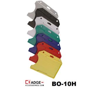 Standaard semi-harde kunststof badgehouder met open voorzijde zodat uw kaart goed zichtbaar is. Kaart wordt horizontaal g
