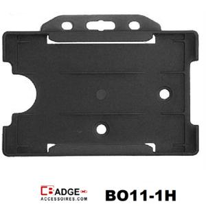 Zeer licht van gewicht semi-harde zwart kunststof kaarthouder met open voorzijde zodat uw identiteit- of bedrijfskaart