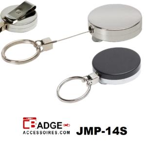 Metalen jojo (43x10mm) met 85 cm staalkabel, 30 mm sleutelring en riemclip