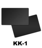 Solid zwart dubbelzijdig gekleurde kunststof PVC kaart in creditkaart formaat. dikte 0.76 mm